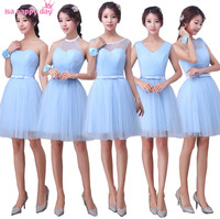 Robe de soiree een schouder corset terug jurk bruidsmeisje blauw tulle bruidenmeisje jurken 2018 gelegenheid korte meisjes bruiloft H3945