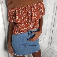 NuoJin Sexy Off Shoulder Blouse Shirt Women Tops Summer Ruffles Flower Print Chemise Femme Elastic Short
