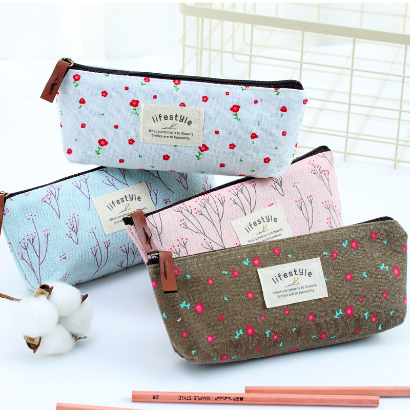 Cute School Pencil Case Floral Pattern Canvas Pencil Zipper Bag Novelty Children Gift Toddler Boys And Girls Pencil Bag