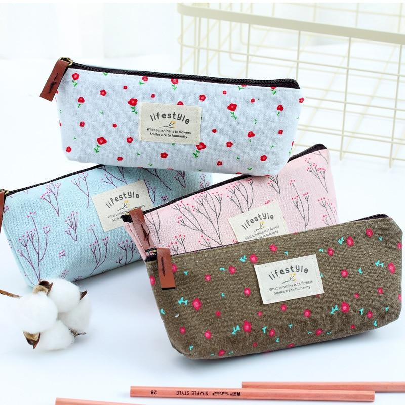Cute School Pencil Case Floral Pattern Canvas Pencil Zipper Bag Novelty Children Gift Toddler Boys And Girls Pencil Bag