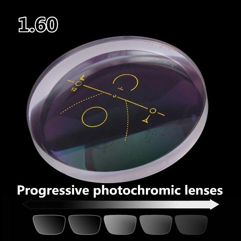 1.60 lentilles photochromiques progressives de haute qualité myopie lentilles optiques de prescription gris extérieur