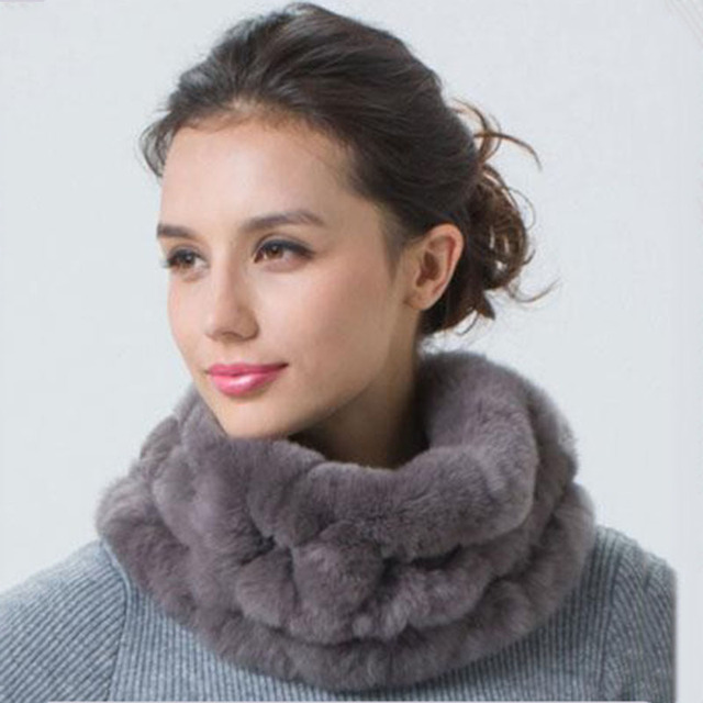 CDS103 2017 Wholesale Ladies Handmade Genuine Rex Rabbit Fur Scarf Drop Shipping Women fur round scarves