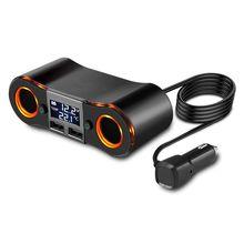 Divisor de encendedor de cigarrillos ZNB02, adaptador de cargador de coche, 3,5a, puertos USB duales, voltímetro de soporte/pantalla LED de temperatura para