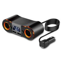 Socket Cigarette Lighter Splitter ZNB02 Car Charger Adapter 3.5A Dual USB Ports Support Volmeter / Temperature LED Display for