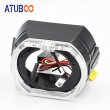 Black Led Shroud With Square Angel Eye For 2.5/3.0 Mini Hid Projector Lens Red White Cover Car Styling Headlight Mask
