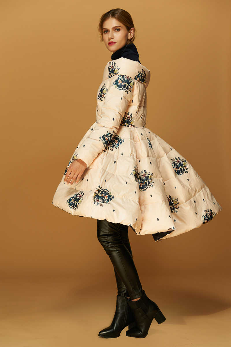 Высококачественное итальянское модное дизайнерское роскошное пальто 2019 года, женская зимняя парка из натурального утиного пуха, куртка, асимметричная юбка с принтом, парка