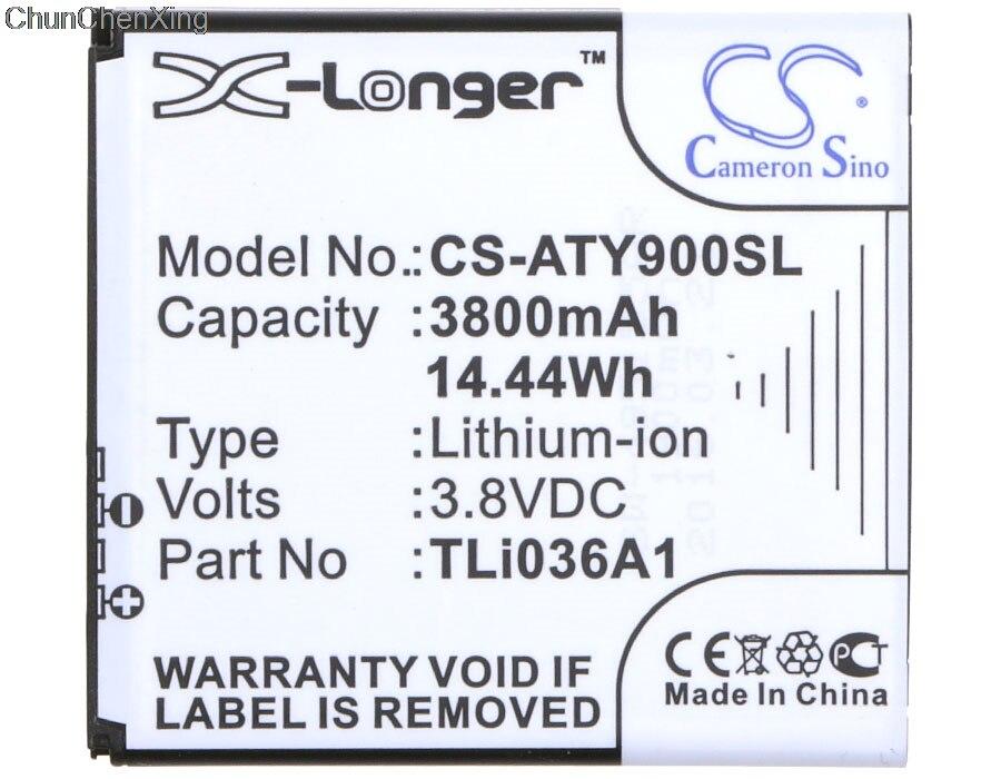Cameron Sino 3800mAh Battery TLi036A1 for Alcatel One Touch Link 4G+, 4G+ LTE, Y900, Y900NB alcatel alcatel one touch pop star 4g
