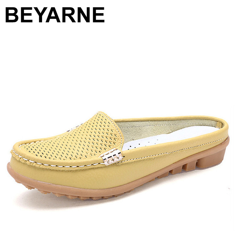BEYARNE solid summer women slippers genuine leather casual flip flops women flats shoes slip on flats clogs shoes woman