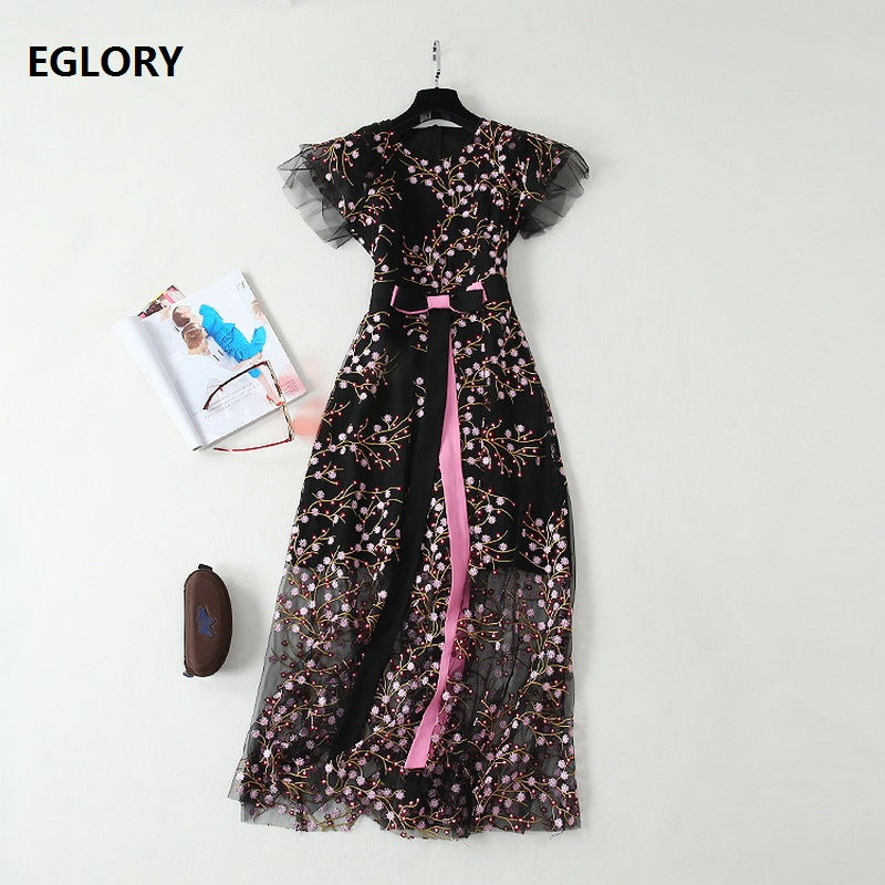 Top Quality New 2019 Summer Long Evening Club Vestidos Women Allover Exquisite Embroidery Bow Tie Elegant Long Dress Sexy Party