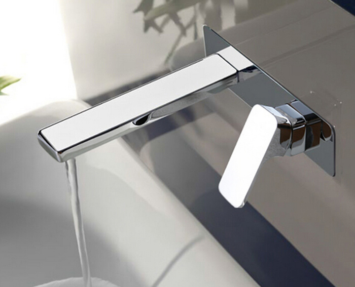 Free Shipping Single Handle Wall Mounted Waterfall Basin Sink Faucet Chrome Finished Bathroom Mixer Tap BF787 bakala free shipping bathroom basin sink faucet wall mounted waterfall chrome brass mixer tap lt 324