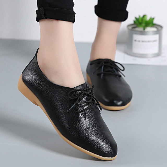 Women shoes 2019 fashion genuine leather shoes woman flats wimen shoes casual comfortable lace-up sneakers women