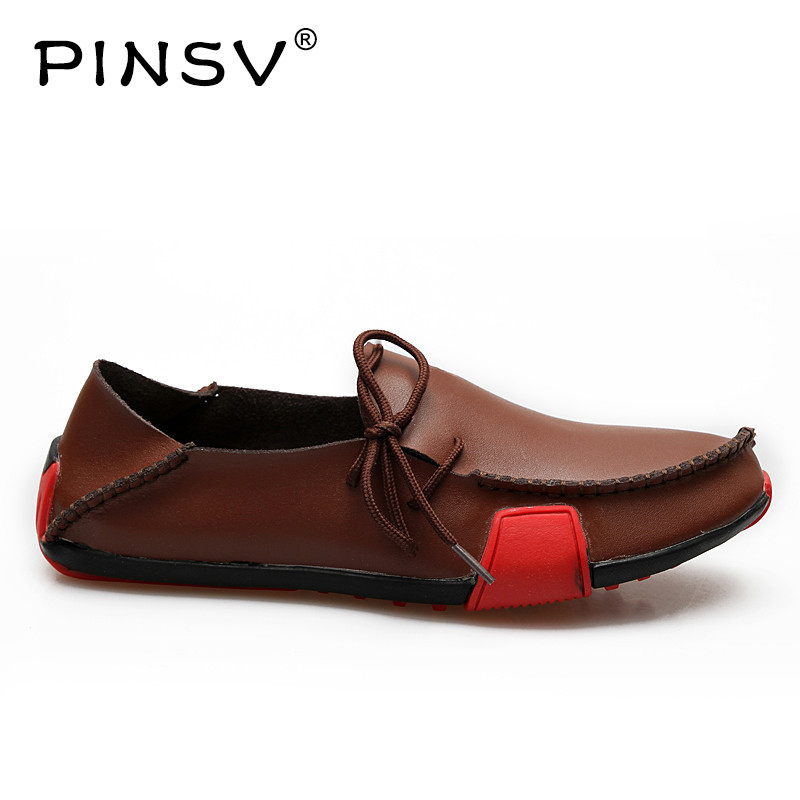PINSV Casual Shoes Mens Loafers Leather Spring Autumn Moccasins Men Driving Shoes Sneakers Men Sapato Masculino Big Size 38-47 klywoo handmade men leather shoes mens loafers summer autumn moccasins breathable mens shoes casual driving sapato masculino
