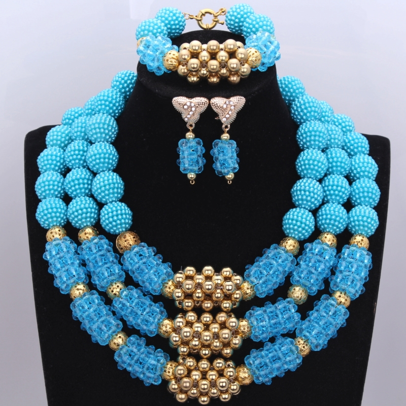 Fantasy Blue and Gold African Crystal Balls Necklace Earrings Bracelet Jewelry Set 2017 Nigerian Jewelry Set New Arrival