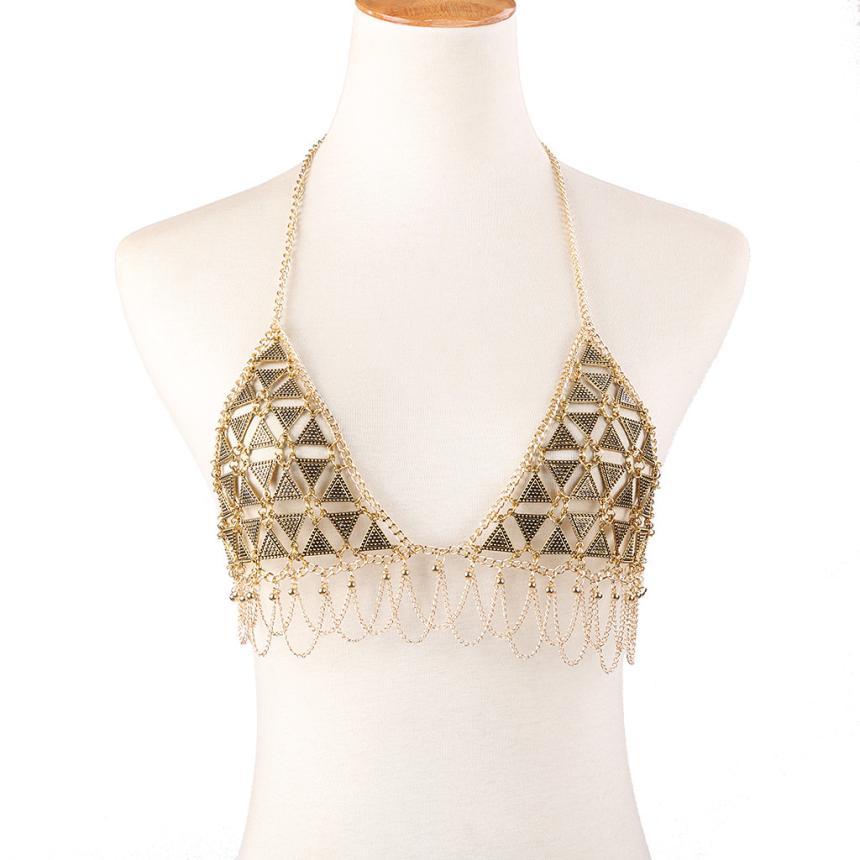 Women Bikini Body Chain Waist Gold Belly Beach Harness Slave Necklace Jewelry