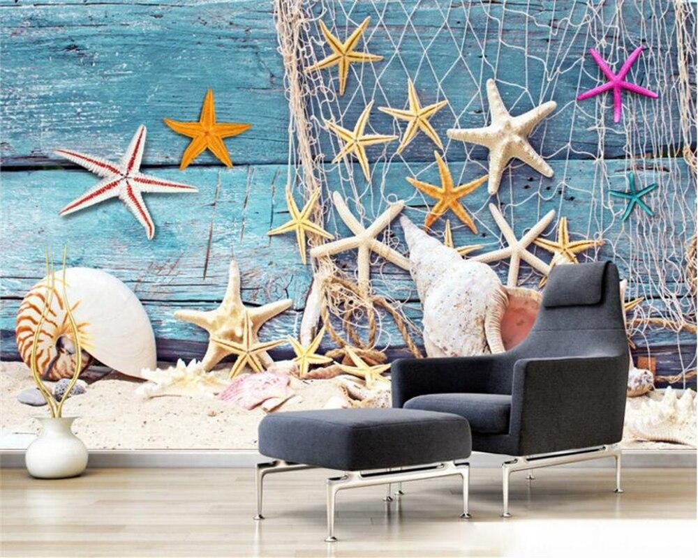 Beibehang 3D Wallpaper Blue Mediterranean Style Fishing Net Fishing Boat Shell Decoration Living Room TV Background Mural photo beibehang blue brick mediterranean style