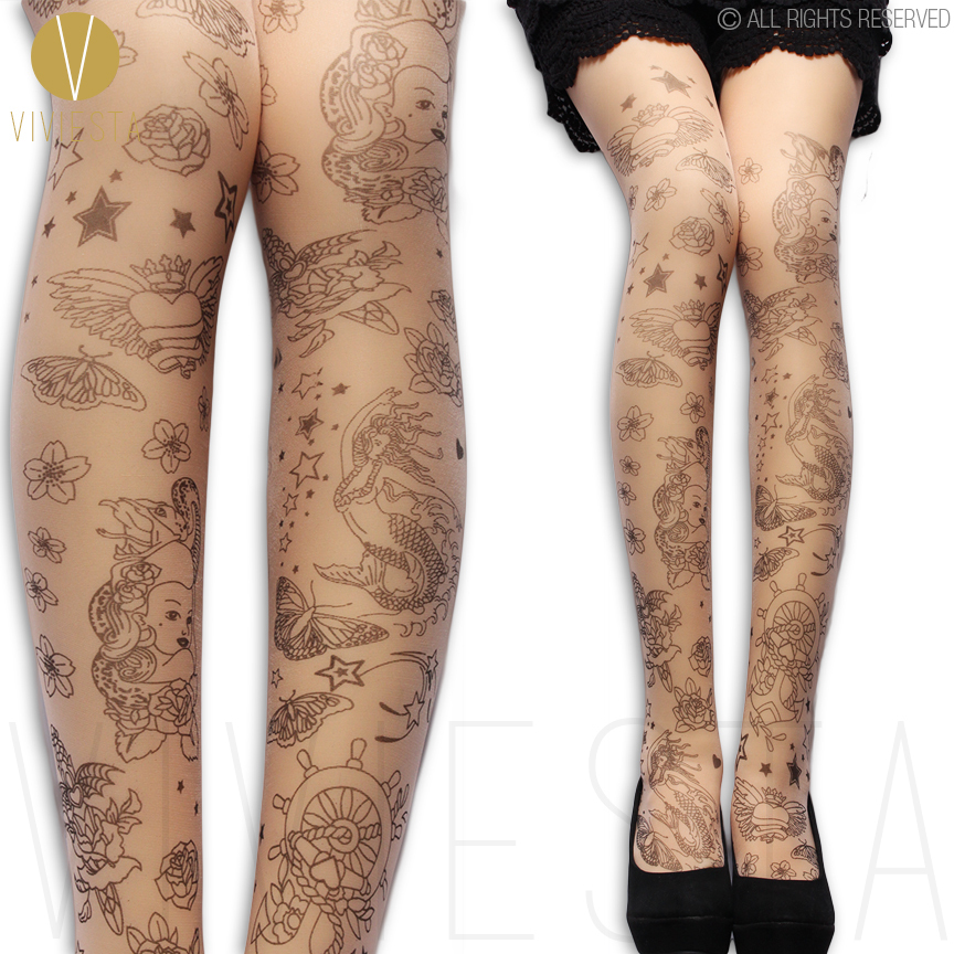 63b415254d9e2 MERMAID AND FLOWER TATTOO TIGHTS 20D Women's Quality Stylish Unique Cute  Floral Paisley Pattern Print Sheer Nude Pantyhose-in Tights from Underwear  ...