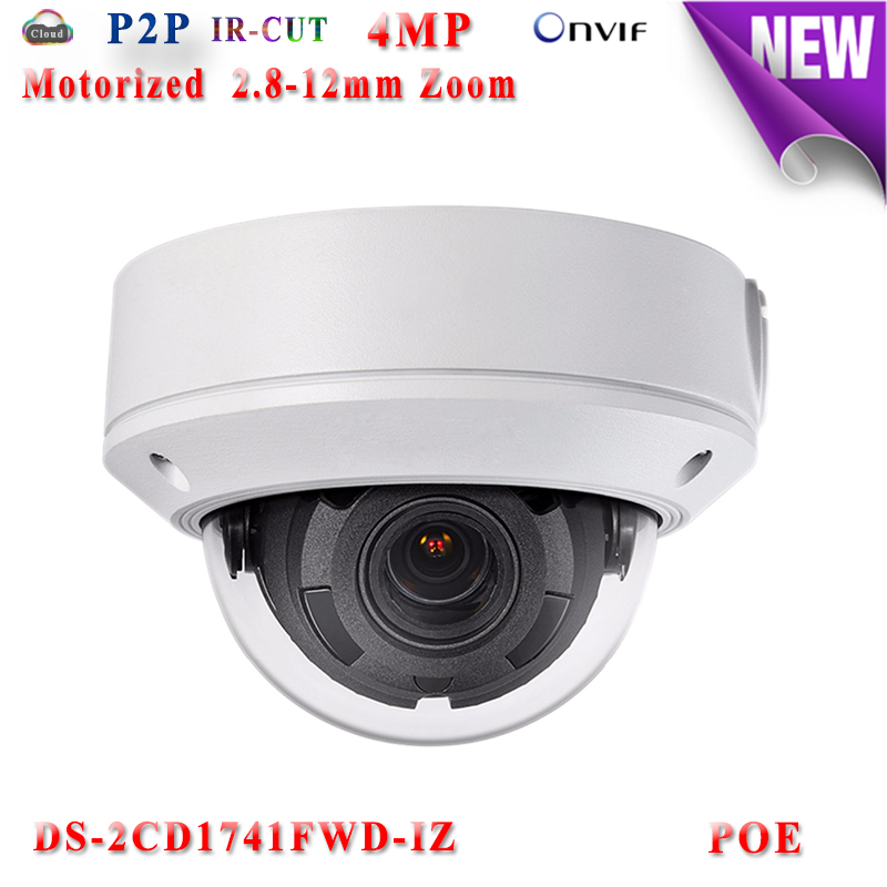 DS-2CD1741FWD-IZ 4mp hikvision ip camera poe ip cameras outdoor WDR 120DB Video Surveilance camera motorized zoom TF Card slot hikvision ds 2de7230iw ae english version 2mp 1080p ip camera ptz camera 4 3mm 129mm 30x zoom support ezviz ip66 outdoor poe