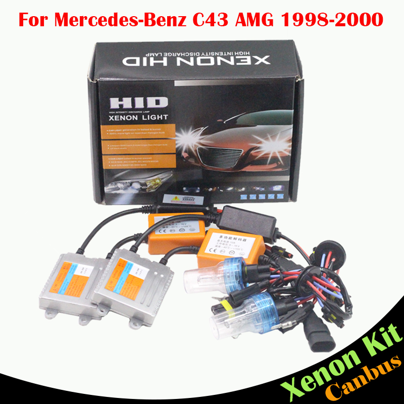 Cawanerl 55W Canbus HID Xenon Kit Ballast Bulb AC 3000K-8000K Car Headlight Low Beam For Mercedes Benz W202 C43 AMG 1998-2000