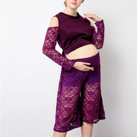 Elegant Maternity Purple Lace Outfits Photography Props Clothes Pregnant Photo Shoot Gown Pregnant Lace Photography Props