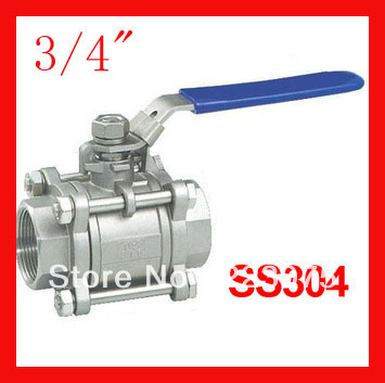 Free shipping New arrival DN 20 3/4 SS304 stainless steel 1000WOG ball valve  3pc Body Full Port for water,oil and gas