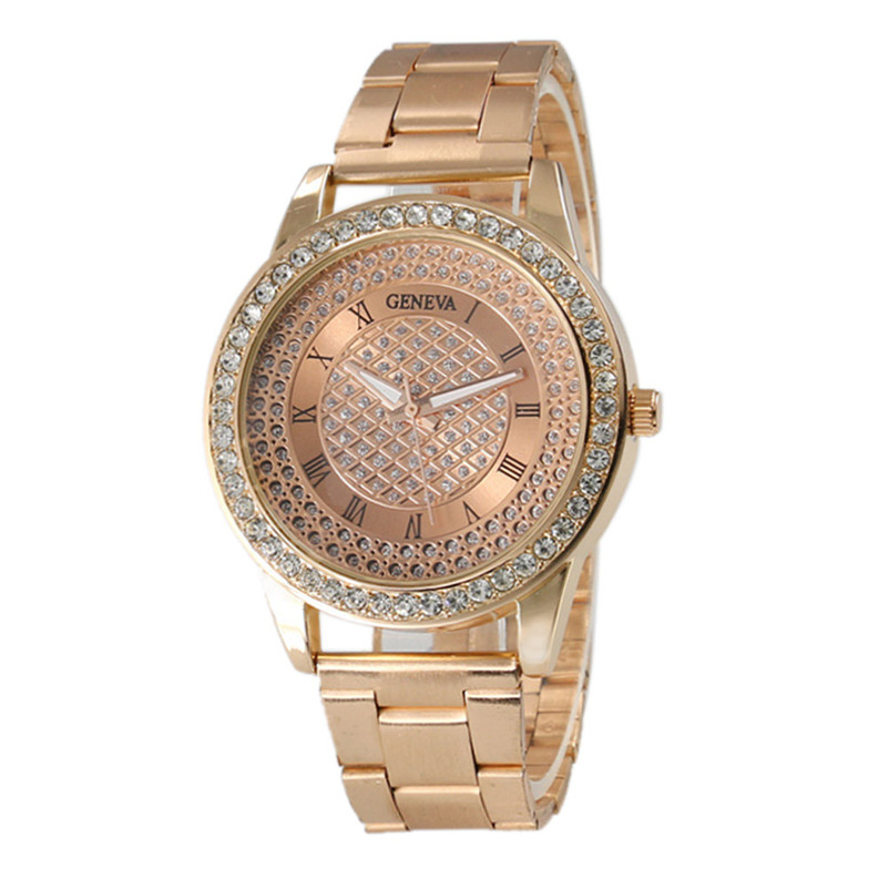 все цены на Watch Women Fashion Rose Gold/ Silver Stainless Steel Analog Quartz Wrist Watch Roman Numerals Rhinestone Women Watches relogio онлайн