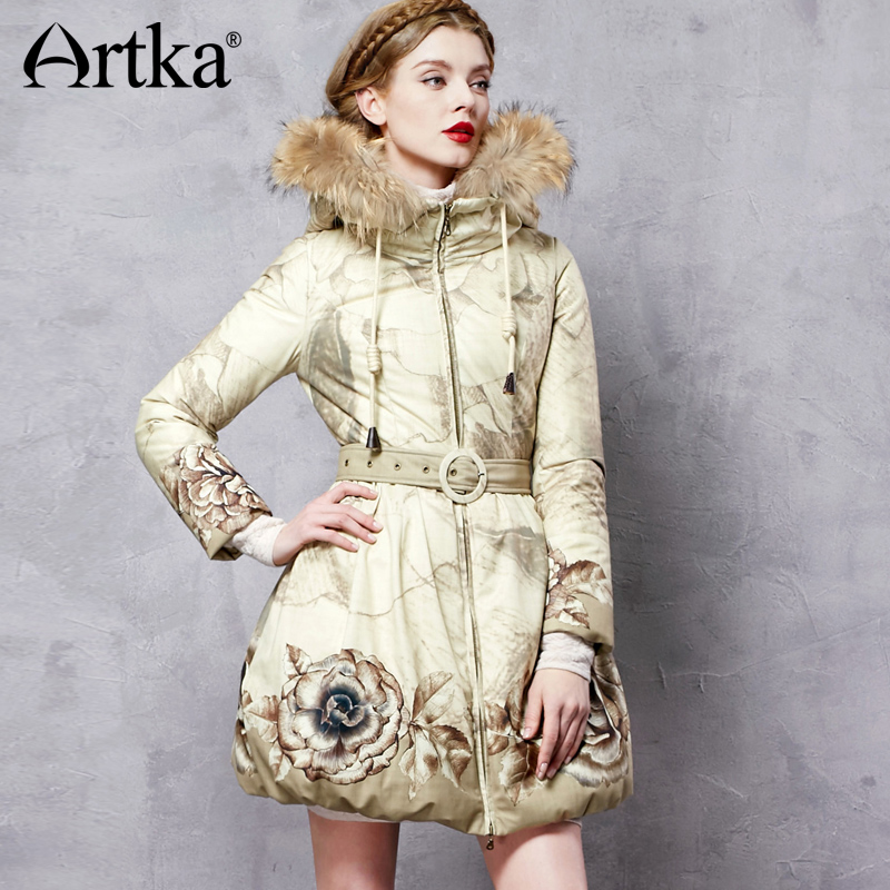 ARTKA Hooded Parka Floral Women's Duck   Down     Coat   2018 Raccoon Fur   Down   Jacket Raincoat Women's Long Overcoat With Belt ZK11063D