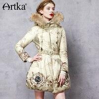 Artka парка с капюшоном цветочный Для женщин утка вниз пальто 2018 мех енота вниз куртка плащ Для женщин длинные пальто с поясом ZK11063D