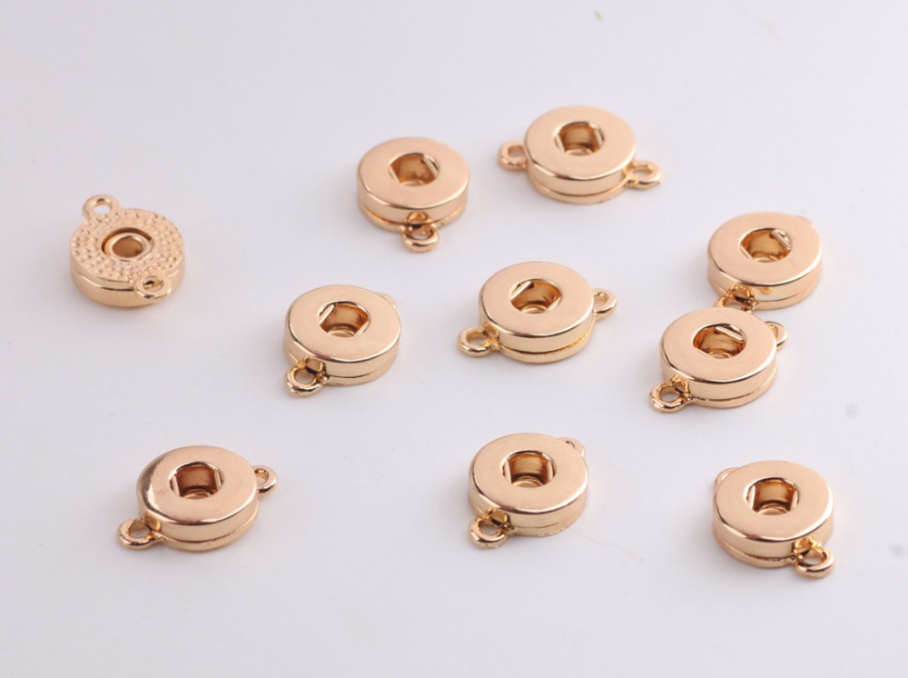 Fashion Gold Round Shape Double Dangle Ring Connectors Interchangeable 12mm Giner Snap Button Jewelry Findings Connectors image