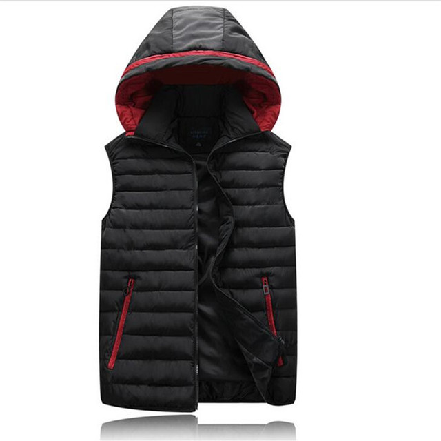 New Solid Mens Vests Hooded Zipper Male Down Jacket 2016 Autumn Winter Big Size Warm Cardigans Mens Vest Jackets Outwear A2695