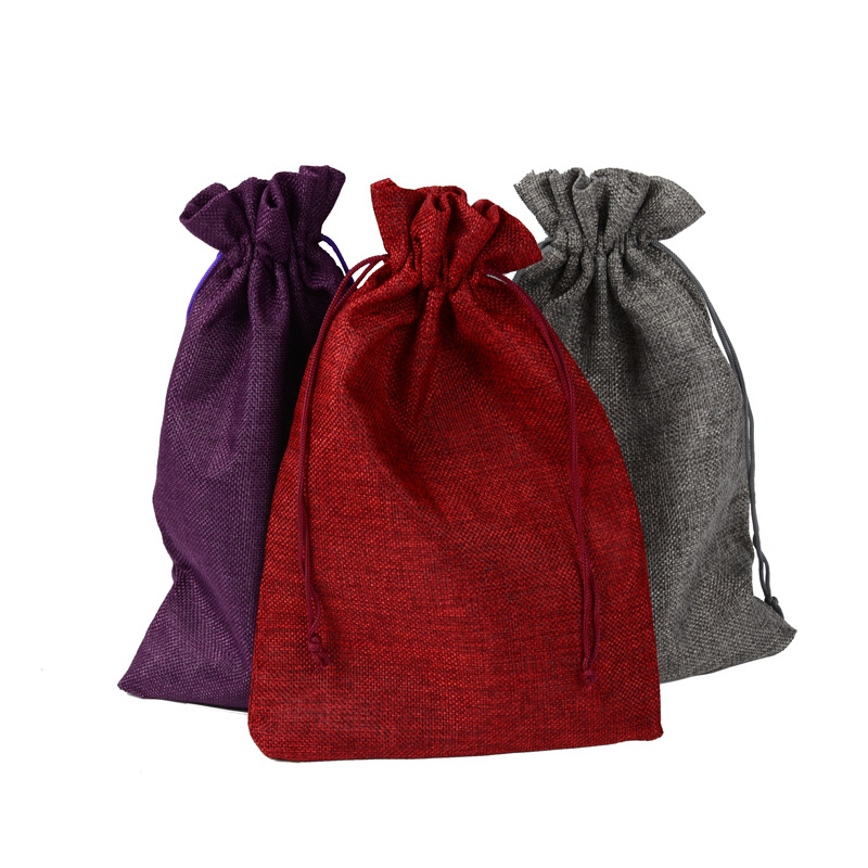 20x30cm Wine Red Jute Bag Wedding Gift Bag Drawable 50pcs Jewelry Bag Pouch Favor Candy Bracelet