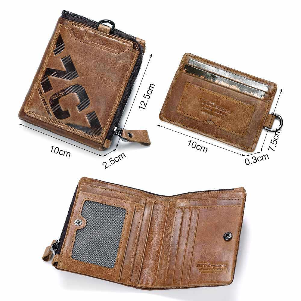 Gzcz carteira de couro genuíno dos homens moda moeda bolsa titular do cartão pequena carteira masculino portomonee embreagem zíper braçadeira para o dinheiro