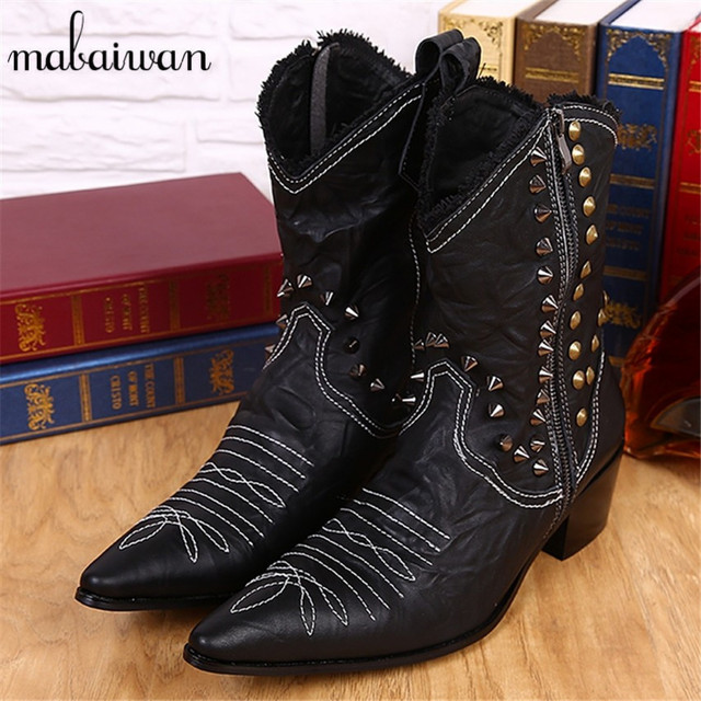 British Cowboy Military Boots Mid-Calf Genuine Leather Boots for Men Pointed Toe Side Zipper Rivets Rubber Boots Tenis Footwear