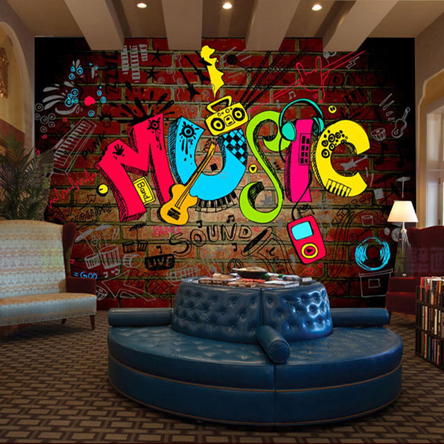Custom 3d Mural 3D Stereo Personality KTV Bar Background Wall Mural  Wallpaper Graffiti Music Symbol Part 52