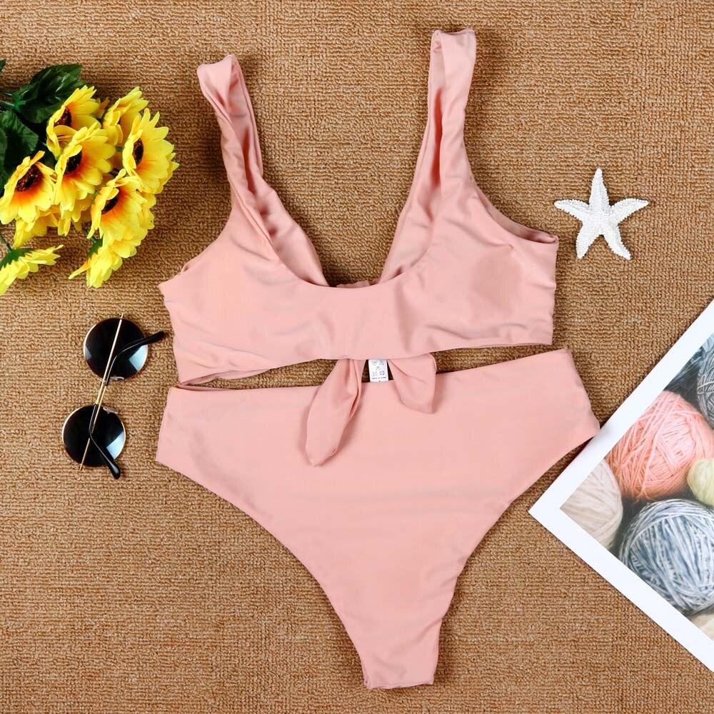 Женская одежда для плавания, розовый однотонный купальный костюм для женщин, сексуальный элегантный танкини, купальные костюмы для женщин с бантом из двух частей, женский купальник s