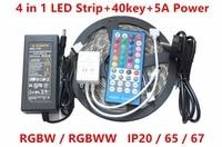 LED Strip 4 in 1 RGBW 5050 DC12V Flexible LED Light RGBWW 4 color in 1 LED Chip 300 Leds 16.4ft + 40key IR controller+Power Kit