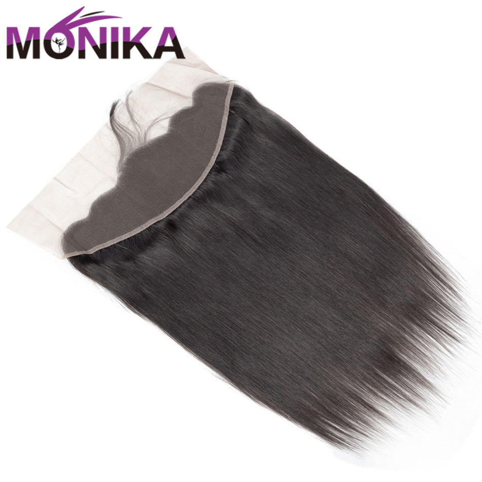 Monika Hair Pre plucked 13*4 Ear To Ear Lace Frontal With Baby Hair Indian Straight Hair Non Remy Human Hair Full Lace Closure