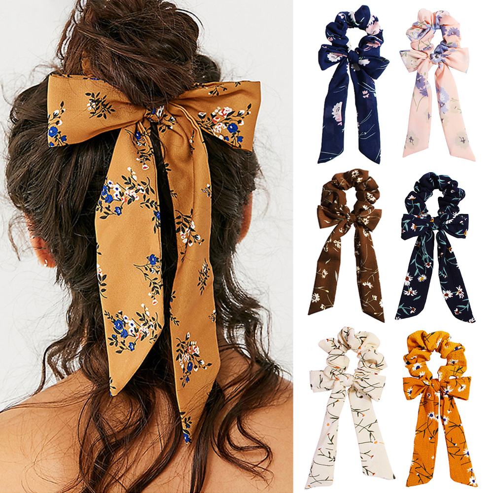 Women Hair Scrunchie Bows Ponytail Holder Bohemian Floral Print Hairband Bow Knot Scrunchy Girls Hair Ties Hair Accessories