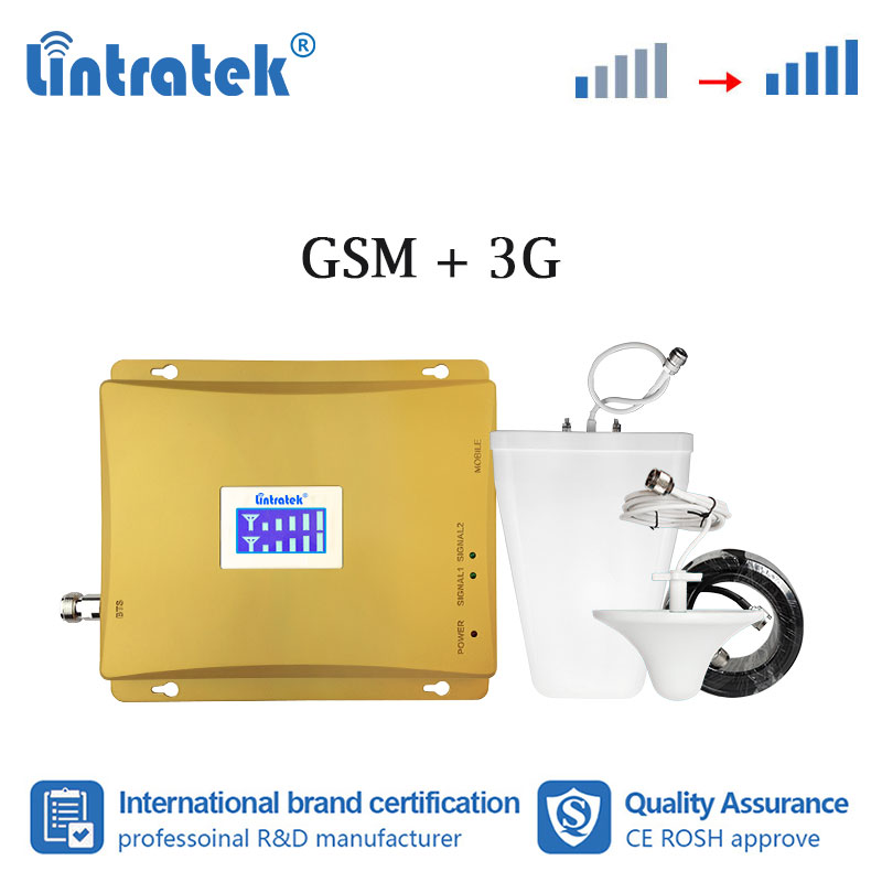 Lintratek 2G 3G UMTS GSM 900 2100MHz Double Band Mobile Phone Signal Booster GSM WCDMA 2100