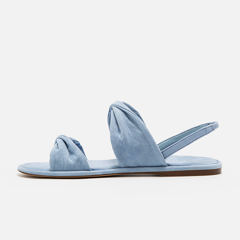 Décontractées Nœud Décoration Style Noir bleu Confortable rose Mode De Simple Femmes Été Mignon Solide Double Chaussures Nouvelle 2019 Couleur Sandales PwBq467a