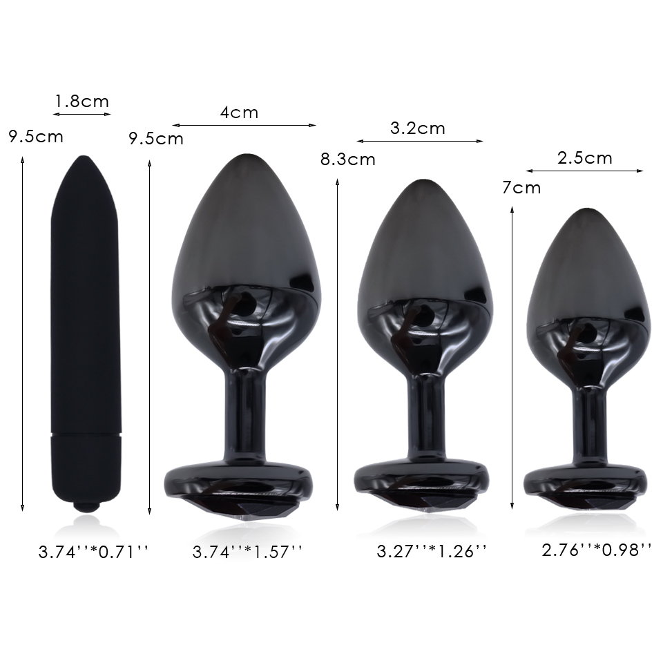 DOMI Gunmetal Heart Shape Stainless Steel Butt Plug Dildo Vibrator Anal Plug Adult Massager Beads Sex Anal Toy in Vibrators from Beauty Health