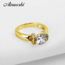 AINUOSHI de moda anillo de oro 10 K puro anillo de bodas de oro amarillo brillante redondo corte Joyeria Fina mujeres promesa regalo de aniversario anillo