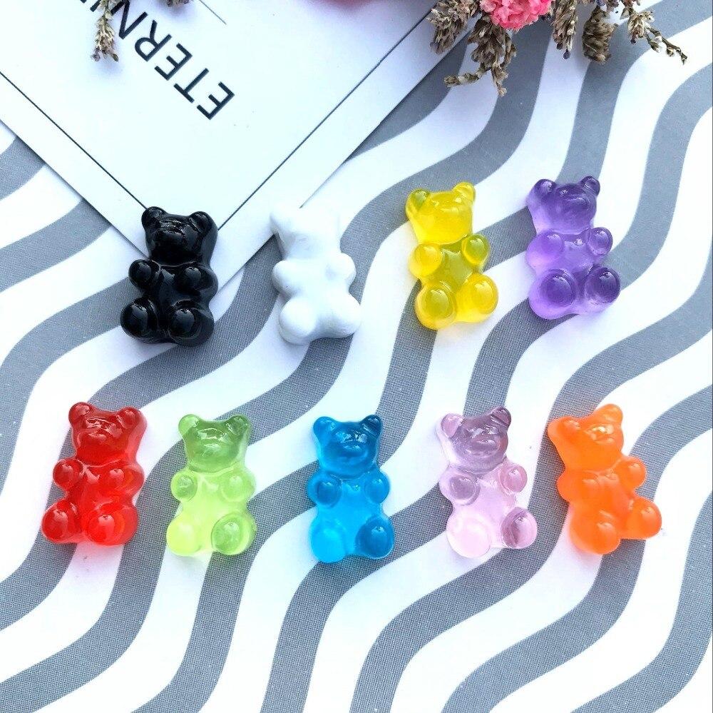 20pcs Flatback Resin Cabochons Simulation Food Cute Bear Shaped QQ Gummy Candy DIY Dollhouse Miniature Deco Parts