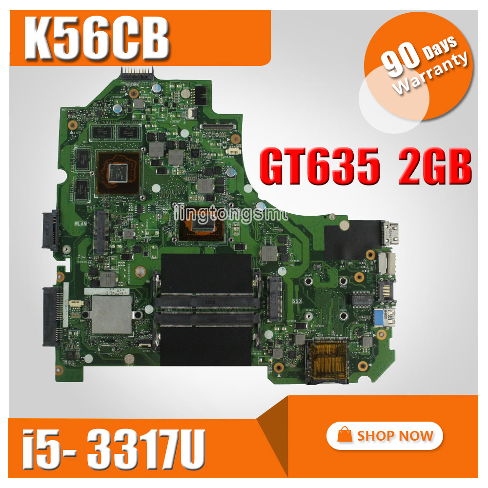 SAMXINNO For ASUS K56CB K56CM A56C S550CM Laptop Motherboard REV2.0 with I5-3317U Graphics GT635 K56CM mainboard 100% Tested k56ca laptop motherboard for asus i5 cpu k56cm rev2 0 gm integrated mainboard tested well before shipping