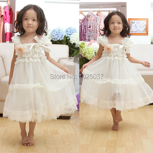 84ffafab2f90 Baby Girls Wedding Dresses Ivory Lace Chiffon Girls Dresses Princess Maxi  Dresses With Flower Ruffle Toddler Clothes-in Dresses from Mother & Kids on  ...