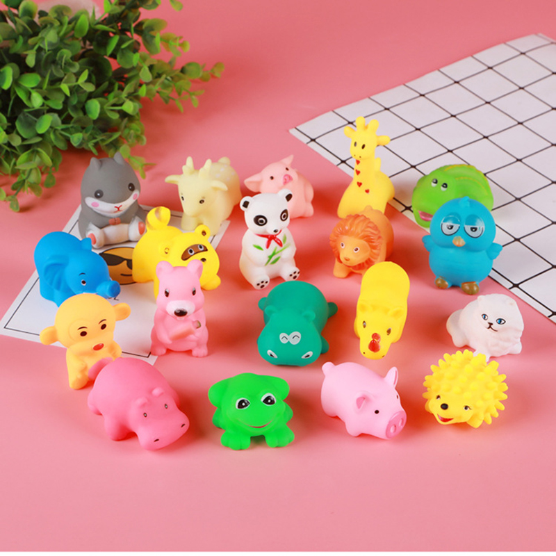 10 Pcs Cute Animals Swimming Water Toys Colorful Soft Rubber Float Squeeze Sound Squeaky Bathing Toy For Baby Bath Toys