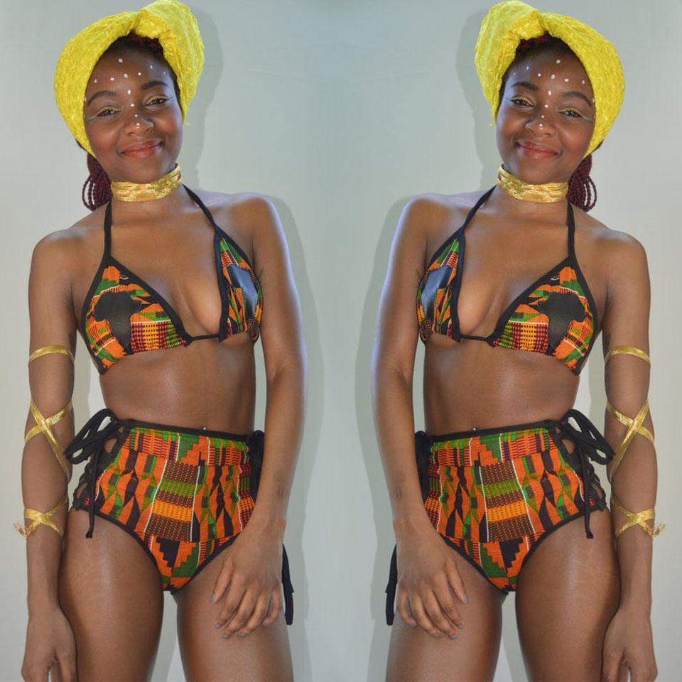 African Kente Print Lace-Up  Bikini Set