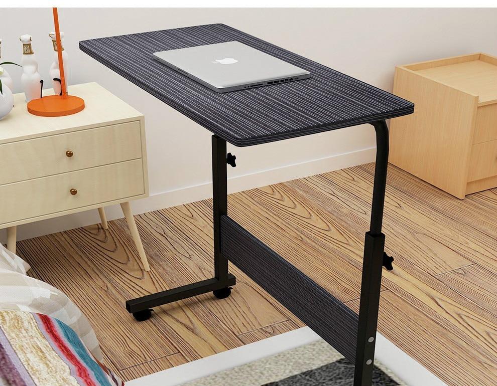 LK581  Portable 80*40cm Computer Desk With Pulley 50kg-Loading Laptop Table For Bed  Height Adjustable Panel+Steel Laptop Desk