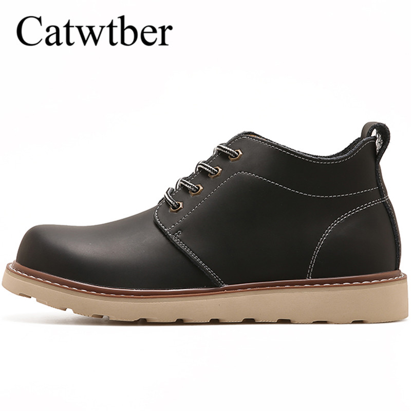Catwtber Man Working Boots Black Brown High Top Shoes for Male Winter Men Outdoor Boots Rubber Bottom Non Slip Casual Shoes