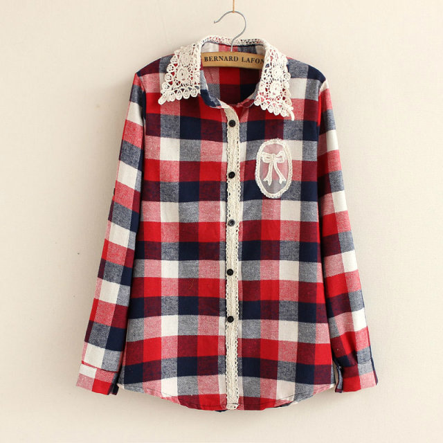 2015 High Quality Womens Tops Ladies Check Shirt Casual Blouse Turndown  Collar Long Sleeve Plaid Flannel Shirts 3 Colors 1b5471503b