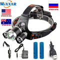 ZK20 Dropshipping LED Headlight T6 13000Lm Head Lam Hiking Fishing Headlamp Light +2x18650 5000mah battery + Wall Car charger